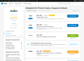 Allegiant Air Promo Codes & Holiday Coupons for December, Save with 3 active Allegiant Air promo codes, coupons, and free shipping deals. 🔥 Today's Top Deal: Save 25% and get free shipping. On average, shoppers save $57 using Allegiant Air coupons from harishkr.ml