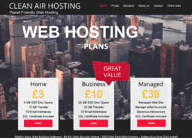 cleanairhosting.com at WI. Green Web Hosting ¦ ECO ...
