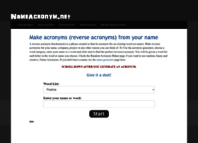 nameacronym net at WI  Make acronyms and reverse acronyms from your