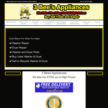 3beesappliances com at WI  3 Bees Appliances - Houston