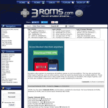 3roms com at WI  Download Nintendo (NDS) Roms & More, Fast and for Free!