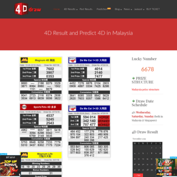 4ddraw com at WI  Malaysia Live 4D Result(First) - Magnum 4D, Toto