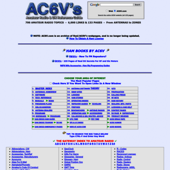 ac6v com at WI  AC6V's Amateur Radio And DX Reference Guide