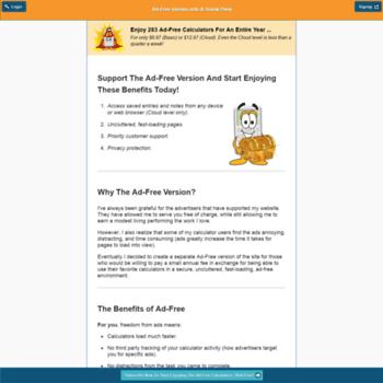 ahacalcs com at WI  AhaCalcs com: Ad-Free Version of Free
