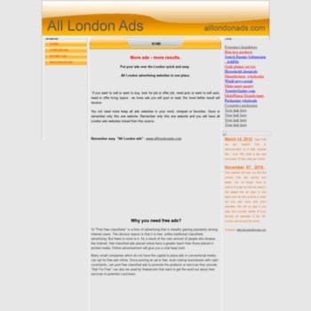 alllondonads com at WI  Free ads, Free classifieds, Free