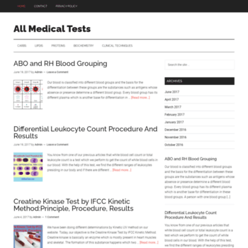 allmedtests com at WI  All Medical Tests - Laboratory Tests