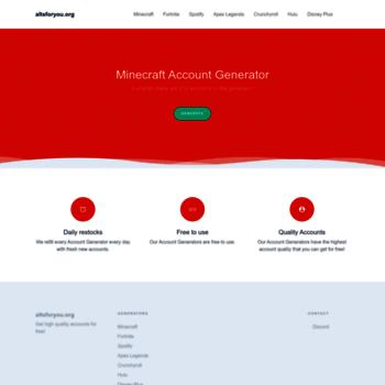 altsforyou org at WI  Free MineCraft Account Generator