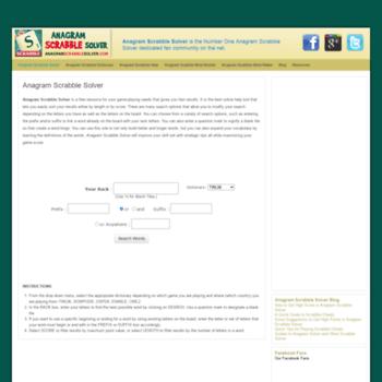 anagramscrabblesolver com at WI  Anagram Scrabble Solver will help