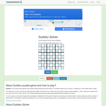 anysudokusolver com at WI  Sudoku Solver - Solve Any Sudoku