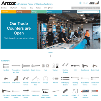 anzor co nz at WI  Stainless Steel Fasteners, Fixtures and Fittings