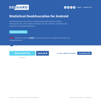 apk-deguard com at WI  DeGuard | Statistical Deobfuscation for Android
