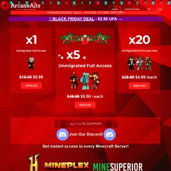 arcanealts com at WI  ArcaneAlts - Cheap Minecraft Alts