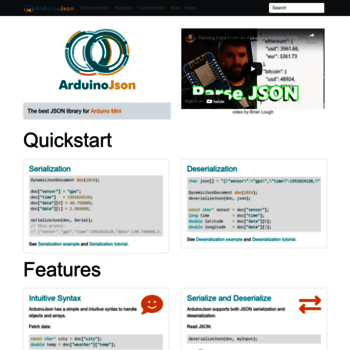 arduinojson org at WI  ArduinoJson: Efficient JSON serialization for