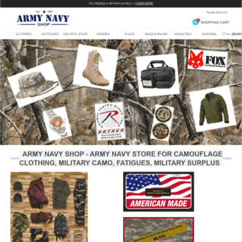 armynavyshop com at WI  Army Navy Shop - Your Online Army