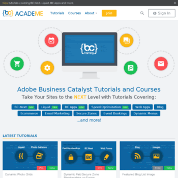 bcacademe com at WI  Adobe Business Catalyst Tutorials By