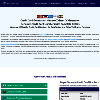 bestccgen com at WI  Namso Gen - Credit card numbers