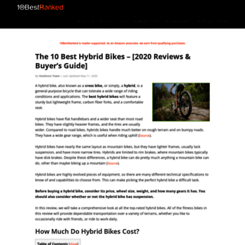 bikefitkit com at WI  The 10 Best Hybrid Bikes of 2018 - Top