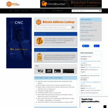 bitcoinwhoswho com at WI  Bitcoin Address Lookup, Checker