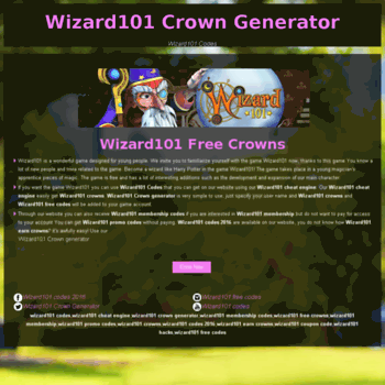 blooops com at WI  Wizard101 Codes Wizard101 Crown Generator