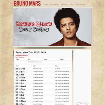 2020 Bruno Mars Tour brunomarstourhq.at WI. Bruno Mars Tour 2019   2020 | Tour