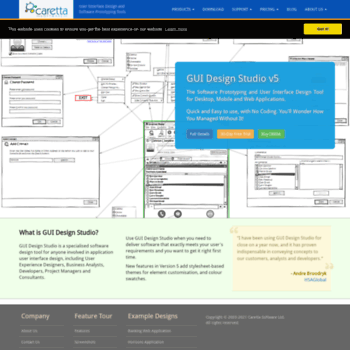 carettasoftware com at WI  GUI Design and Software Prototyping Tools
