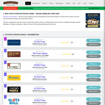 Веб сайт casinomenu.co.za