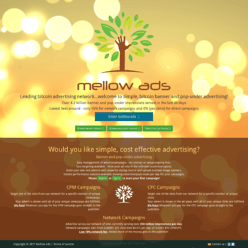 clik bz at WI  Mellow Ads: Simple, bitcoin banner and pop