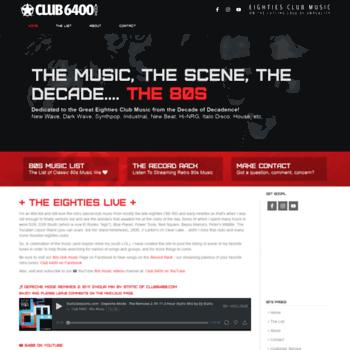 club6400 com at WI  Celebrating 80s Club Music | Eighties