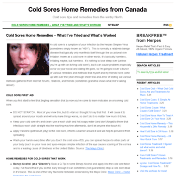 coldsoreshomeremedies ca at WI  Cold Sores Home Remedies