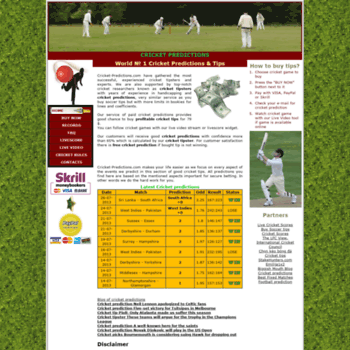cricket-predictions com at WI  Cricket predictions, paid
