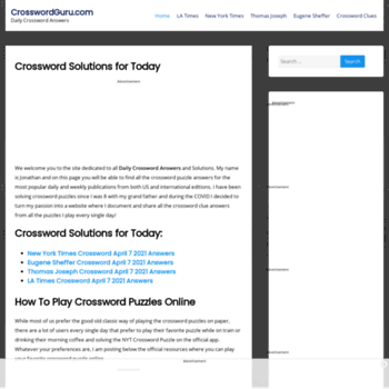 crosswordguru com at WI  Crossword Solver - CrosswordGuru com