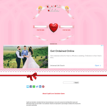 cupidlovecalculator com at WI  True Love Calculator Game