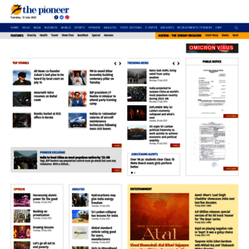 dailypioneer com at WI  English News Paper | Breaking News