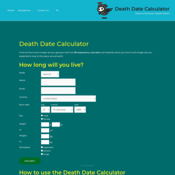 deathdate org at WI  Death Date Calculator | Find out how