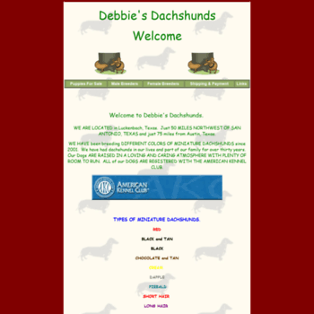 debbiesdachshunds com at WI  Debbie's Dachshunds Breeder AKC