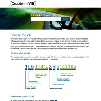 decodethevin com at WI  Free VIN Lookup - Vehicle VIN