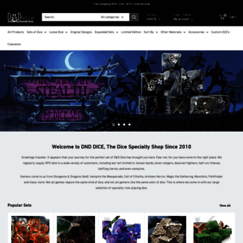 dnddice com at WI  DnD Dice, D&D Dice Shop, Huge Selection
