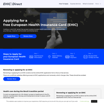 Renew Ehic Card Uk >> Ehicdirect Org Uk At Wi Ehic Apply Or Renew European Health