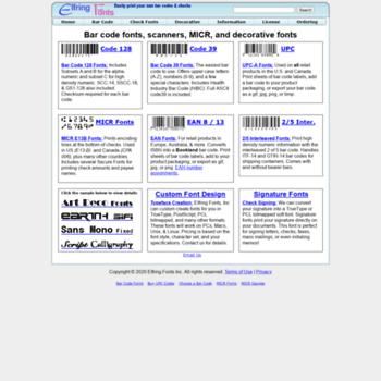 elfring com at WI  Barcode Font Software, MICR E13B Fonts