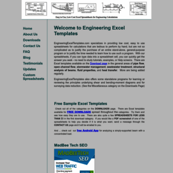 Engineeringexceltemplates At Wi Engineering Excel Templates Home