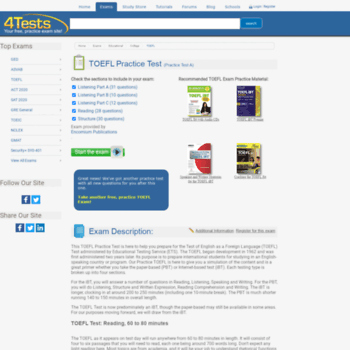 eslexams com at WI  TOEFL IBT Practice Test | Free TOEFL Practice