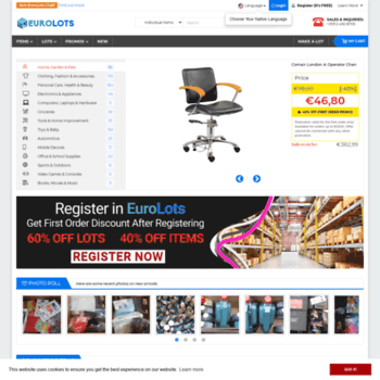 eurolots com at WI  EuroLots   Wholesale merchandise by the