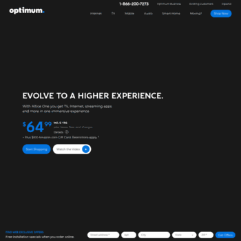 experiencetheone com at WI  Altice One | Optimum Internet, TV and
