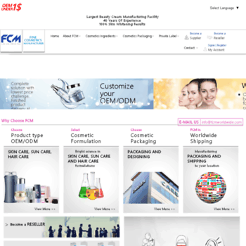 fcmworldwide com at WI  FCM WORLDWIDE, Cosmetic Ingredients