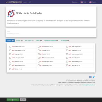 ffxivhuntspath com at WI  FFXIV Hunts Path Finder