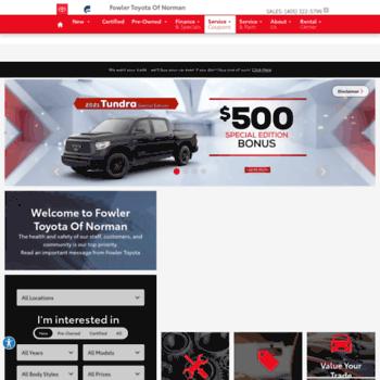 Fowler Toyota Norman Ok >> Fowlertoyota Com At Wi Fowler Toyota Toyota Dealer In