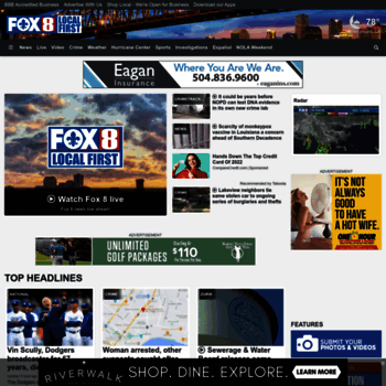 fox8live com at WI  Home - New Orleans News, Weather, Saints