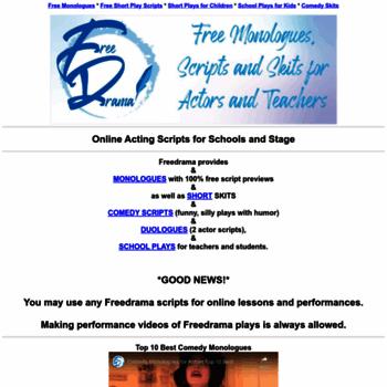 freedrama net at WI  Freedrama free stage play scripts