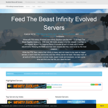 ftb-infinity-servers com at WI  Home - Feed The Beast