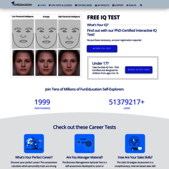 funeducation com at wi funeducation tests and quizzes free iq